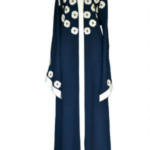 Floral Navy Abaya - front